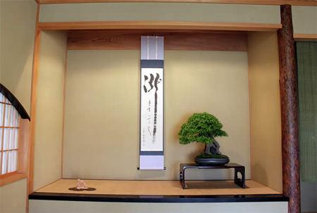 Cool summer display of Tokonoma, Yugyo-an.jpg