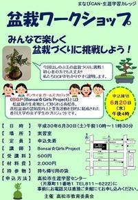 盆栽ワークショップ参加募集 6月30日 まなびCAN
