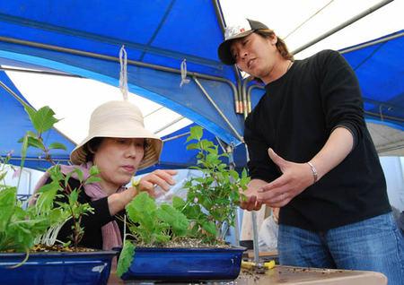 寄せ植えづくりを指導する橋本さん(右)