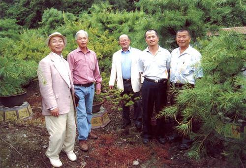 現地の盆栽園を訪ねた波多、小西、山地の各氏