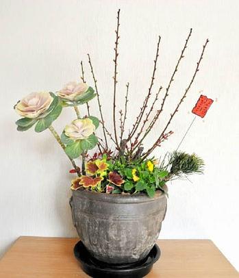 鉢が深い洋風の寄せ植え